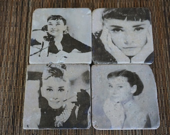 Audrey Hepburn Tumbled Marble Coaster Collection