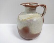 Pottery Pitcher, Ceramic Pitcher, Brown, Gold and Cream Pitcher, Frankoma Pitcher, Frankoma Jug, Pottery Jug, Ceramic Jug, Earthenware Jug
