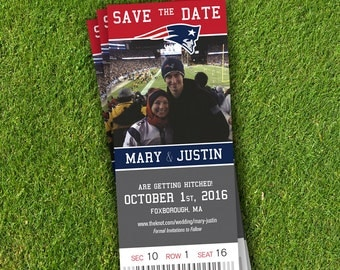 Sports Ticket Save The Date, Wedding Announcement, DIY PDF, Football, Baseball, Hockey, Basketball, Soccer, Magnet, Any Team
