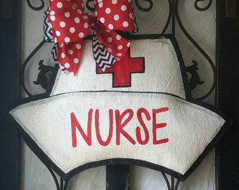 Nurse Hat Burlap Door Hanger Decoration and Wreath Replacement