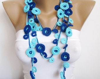 Necklace SOGNARE/ Blue Crochet Necklace/ Floral Necklace /Charm Necklace/Crochet Scarf /Crochet Belt/Hairband/Gift For Girl Friend