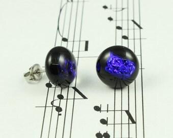 Dichroic Glass Earrings - Blue Violet Fused Glass Stud Earrings, Sparkly Electric Blue Purple & Black - Round Stud Earrings