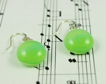 Fused Glass Jewelry Earrings - Lime Green & Mint Green Ombre Drop Dangle Earrings - Round Glass Cabochons