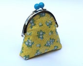 Sweet coin purse, metal frame with blue bobble, yellow and blue floral fabric and coordinating fabric lining