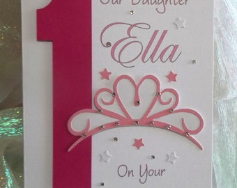Personalised 1st 21st Any Age Princess Birthday Card Daughter,Granddaughter, God Daughter, Niece, Sister etc