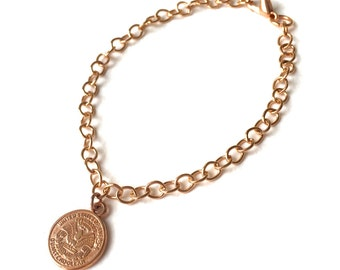 Rosegold bracelet - quarterdollar coin, fine anchor chain, carabiner closure
