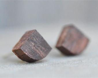 Tiny Wood Post Earrings