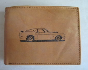 "Mankind Wallets Men's Leather RFID Blocking Billfold w/ ""1969 Ford Mustang Boss 429"" Image~Makes a Great Gift!"