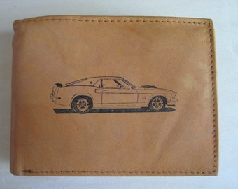Men's Tan Leather RFID Billfold/ Wallet With Free 1969 Ford Mustang Boss 429 Image~Makes a Great Gift!