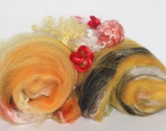Wool Fiber Spinning Batts of Fire