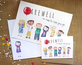 Farewell - Handmade Illustrated Card - Goodbye, Office, Work, Group, Holiday, Leave, Friend Card