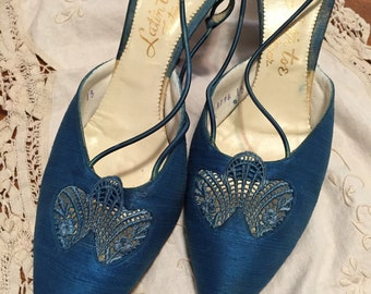 1950's Duponi Silk Turquoise Pumps