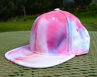 Pink and Blue Hand Dyed Snapback Hat
