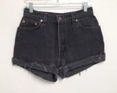 Vintage 550 Levis Shorts Black Denim High Waisted Size 10 P