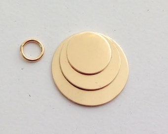 Gold Fill 3pc Disc Stack 18g Hand Stamping Blank, gold discs