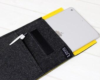 Dark gray iPad case, iPad mini case, iPad mini 4 sleeve, 6 inch tablet case, felt iPad sleeve, yellow iPad sleeve, gray kindle case