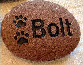 Custom Engraved Pet Rock Option #2 - Engraved Rock, Stone, Dog, Cat, namesake, etched rock, etched stone, Sandblast