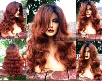 """Auburn Human Hair BLEND // Lace Front Wig w/ 4x4"""" Swiss Lace Brown Red Ombre Wig w/ Curly Dark Root"""