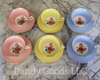 Vintage Rosina Bone China, Made in England, set of 6 teacups/saucers