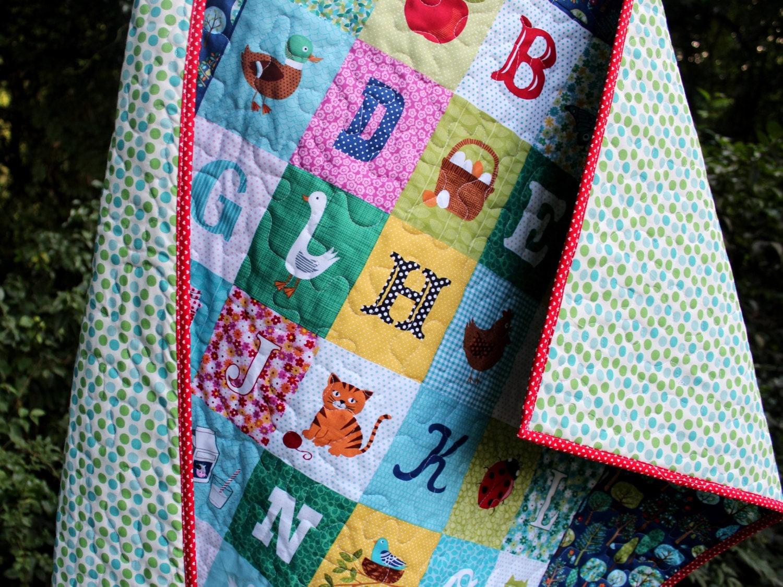 Modern Gender Neutral Baby Quilt Toddler Quilt Alphabet
