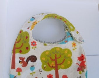 Terry Cloth Baby Bib with Cute Forest Print