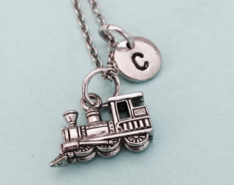 Train necklace, train charm, steam engine, locomotive, personalized necklace, initial charm, monogram, initial necklace