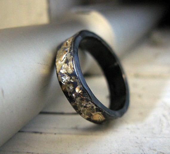 Rustic Mens Wedding Band Mens Wedding Ring 8 75 Black Gold