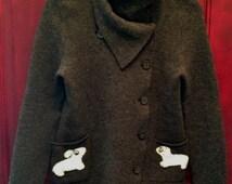 Grey Horny Toad Wool Medium Jacket with Dachshund Patch Pockets