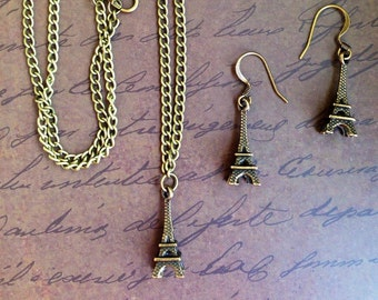 Eiffel Tower Pendant and Earrings Jewelry Set