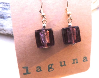Purple Venetian glass earrings