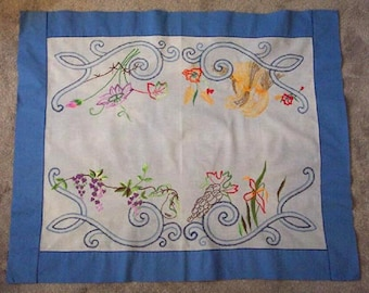 Blue Luncheon Tablecloth, Four Seasons Embroidery, Flowers, Corn, Poinsettia, Grapes