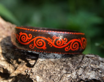 Handpainted wooden bracelet with ornament, brown and red colors bangle