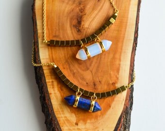 Lapis Lazuli and White Opal Stones Healing Pendant with Gold Hametite Cubes on 18K Gold filled Necklace/Raw precious stones/Healing Quartz