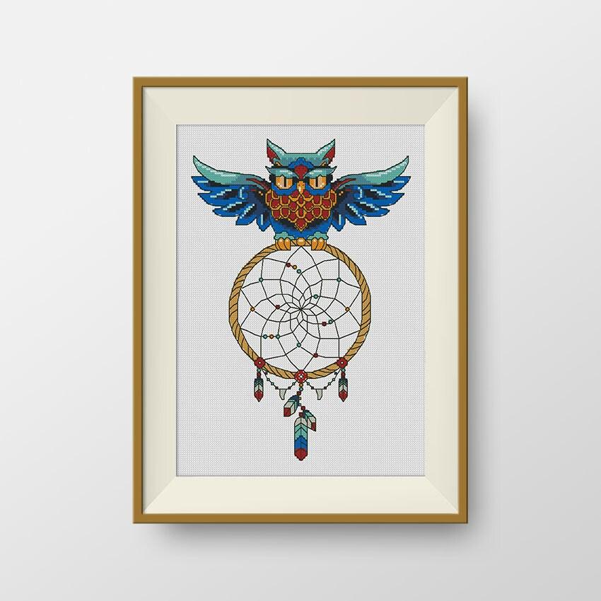 BUY 2 GET 1 FREE Owl dream catcher Cross by NataliNeedlework