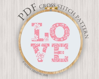 LOVE PDF cross stitch pattern / instant download