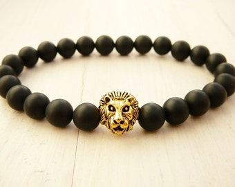Mens Black Bracelet, Mens Black Onyx Jewelry, Men's Jewelry, Gemstone Bracelet, Lion Beaded Bracelet, Stretch Lion Bracelet, gift for men