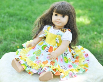 "Doll Dress, Kadence Knot Dress, American Girl, Doll Ruffle Dress, Matching Doll Dress, 18"" Doll Clothing, Doll Clothes, 18"" Doll Dress"