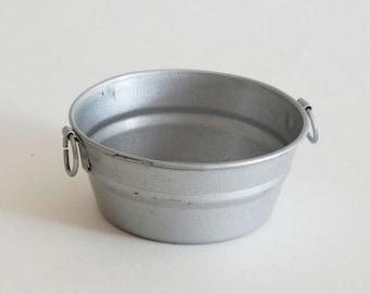 Miniature galvanized laundry pail or garden basin