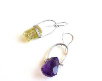 Asymmetrical Sterling Silver Gemstone Earrings - Earrings 237 & 238 for EAD2015