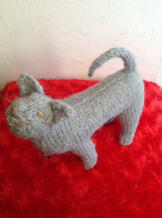 Hand knitted Russian Blue cat