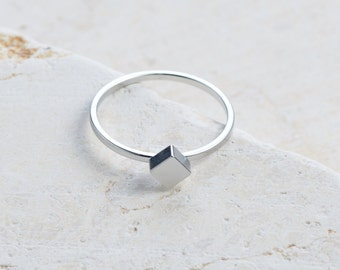 Cube Ring Geometric Stackable Bronze Gold Silver
