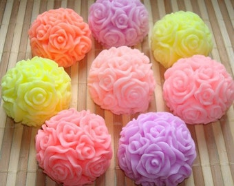 Ball of roses medium silicone mold silicone mould soap mold candle mold