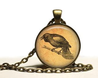 Crow necklace Bird pendant Antique jewelry