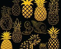 12 Pineapple Clipart Digital Images, Clipart Design Elements, Instant Download, Gold Foil Clip art
