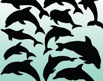 12 Dolphin Silhouette Digital Clipart Images, Clipart Design Elements, Instant Download, Black Silhouette Clip art