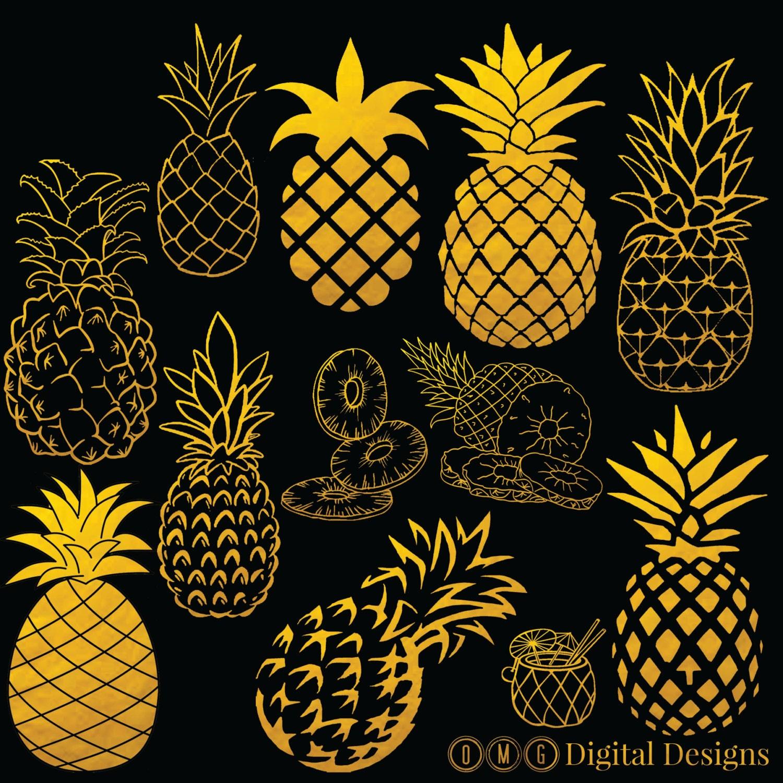12 Pineapple Clipart Digital Images, Clipart Design ...