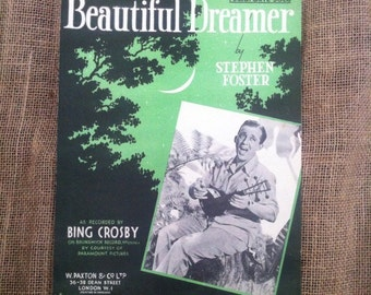 Vintage Sheet Music. Piano Solo. Beautiful Dreamer as recorded by Bing Crosby 1946. Artwork for framing