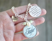 Personalized Jr Bridesmaid Gift Charm Bracelet unique keepsake sentimental Today you are young but soon you'll be grown quote color choice
