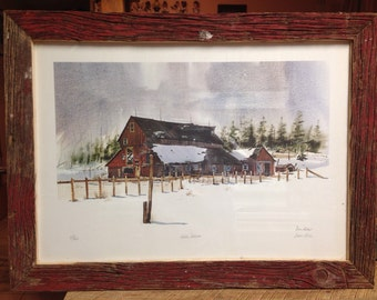 "Reclaimed Barn Wood ""Winter Solitude"" Picture Frame"