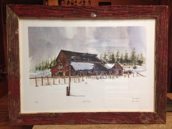 """Reclaimed Barn Wood """"Winter Solitude"""" Picture Frame"""